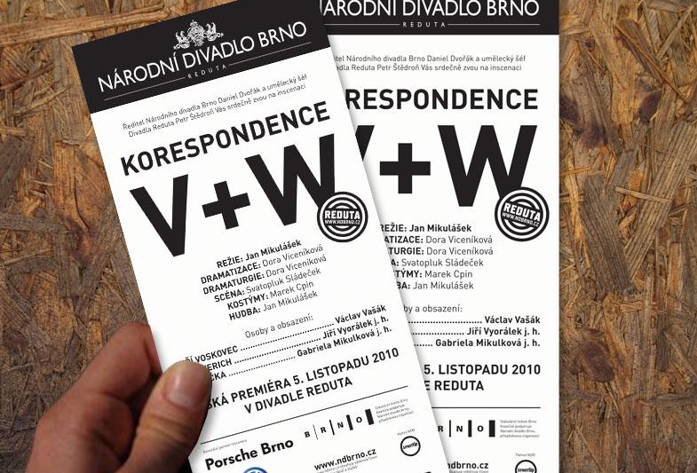 Divadlo Reduta: Korespondence V+W – Leták