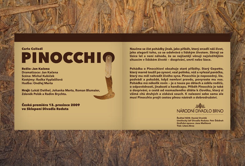 Brožura pro Národní divadlo Brno – Pinocchio