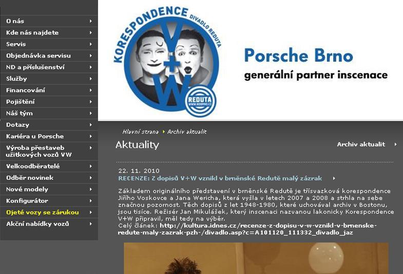 Divadlo Reduta: Korespondence V+W – Webová grafika