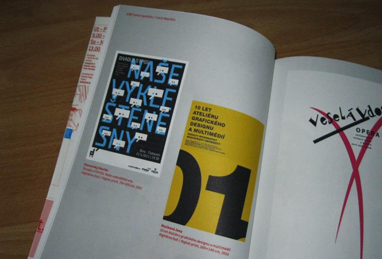 Plakát k 10. výročí Ateliéru grafického designu a multimédií na výstavě Trienále plagátu Trnava